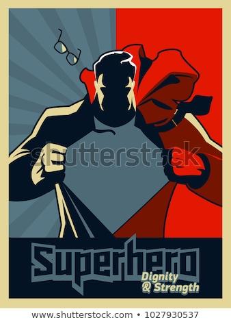 иллюстрация жесткий мощный superhero синий Сток-фото © antonbrand