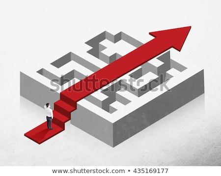 Pijl labyrint muur achtergrond teken helpen Stockfoto © dengess