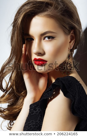 Gorgeous brunette with red lipstick Stock photo © dash