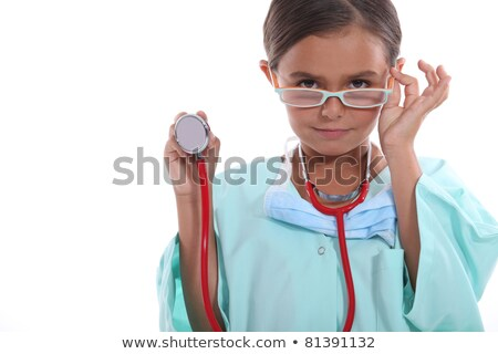 Child wearing grown up hospital scrubs, glasses and a stethoscope Stock photo © photography33