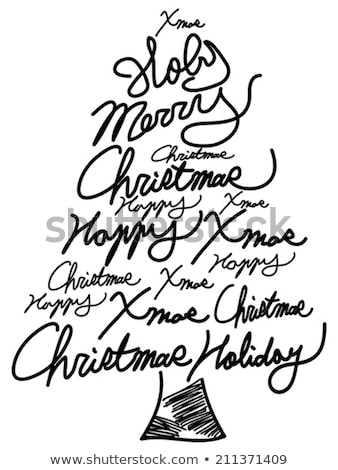 Christmas tree word clouds in black background stock photo © seiksoon
