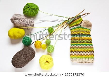 Vijf wol sokken patroon witte Stockfoto © RuslanOmega