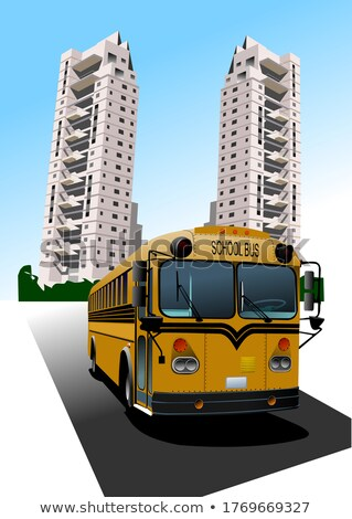 Stock photo: Dormitory and school bus. Vector illustration