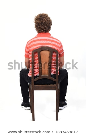 adam · oturma · boyama · beyaz · çizim - stok fotoğraf © zzve