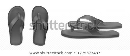 Medence tanga csinos pár papucs pezsgő Stock fotó © spanishalex