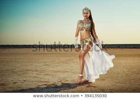 young beautiful belly dancer in a blue costume stock photo © stepstock