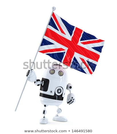 Android Robot standing with flag of UK. Isolated over white Stock photo © Kirill_M