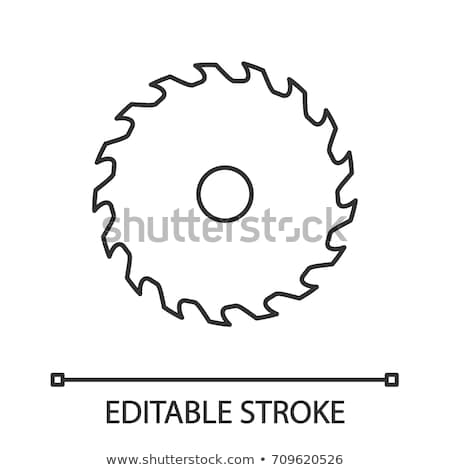 Stock photo: Carpenter with circular saw blade