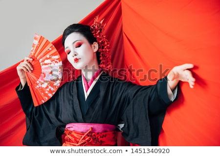 Bella geisha dancing fan primavera faccia Foto d'archivio © Nejron