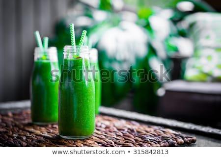 Zöld smoothie menta zeller alma üveg egészség Stock fotó © Zerbor