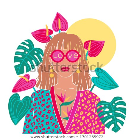 Portrait of the blonde in the colorful jungle Stock photo © konradbak