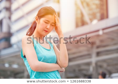 maladie · photo · malade · femme · séance · lit - photo stock © grechka333