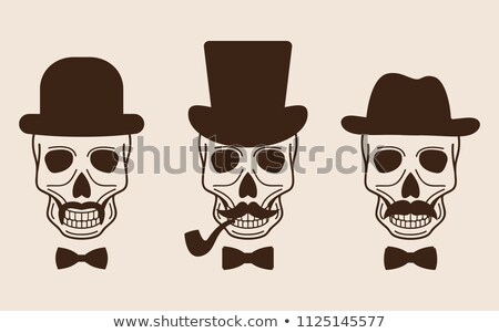 sketch scull with mustache and in hat stock photo © kali