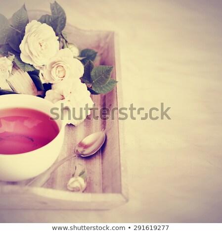 kahve · fincanları · ahşap · mutfak · masası · üst · görmek · bo - stok fotoğraf © nalinratphi