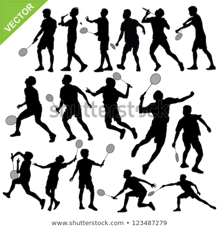 Badminton silhouettes femme fille corps santé Photo stock © Slobelix