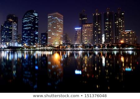 gebouwen · strand · zee · hemel · boom · zon - stockfoto © feelphotoart