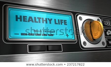 Gezond leven display automaat opschrift geld lopen Stockfoto © tashatuvango