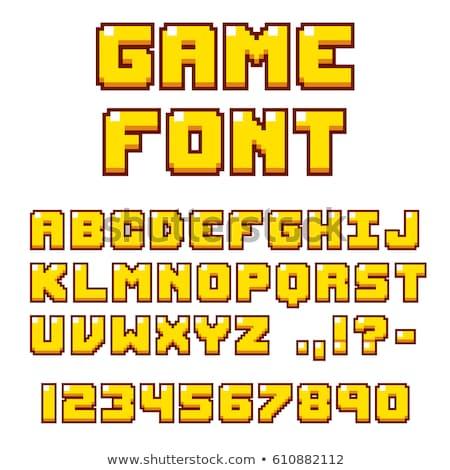 Stock fotó: Pixel · művészet · ábécé · betűtípus · textúra · fém