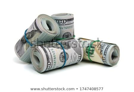 zsemle · számlák · egy · száz · dollár · bankjegyek · gumiszalag - stock fotó © neirfy