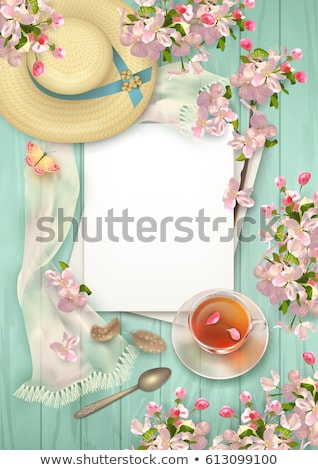 glass tea cup cherry blossoms stock photo © justinb
