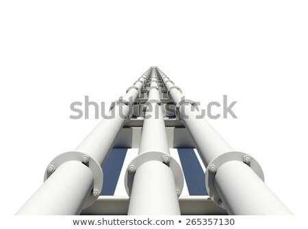 Three white industrial pipes stretching into distance. Isolated. Transportation concept Stock photo © cherezoff