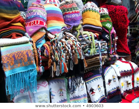 Stock photo: A variety of souvenirs made of Peruvian wool.