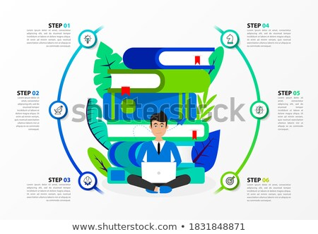 Six Steps to Business Success Literature, Mastering Business Management Concept with Stack of Published Books.