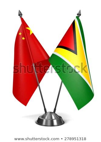 Cina Guyana miniatura bandiere isolato bianco Foto d'archivio © tashatuvango