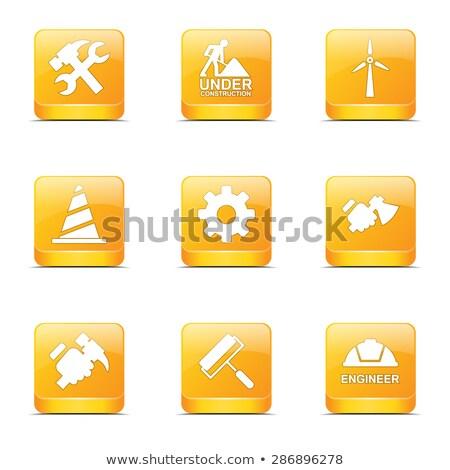 Costruzione strumenti piazza vettore giallo icona Foto d'archivio © rizwanali3d
