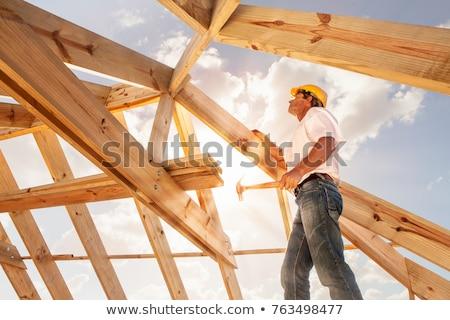 Stock fotó: Fa · tető · építkezés · új · ház · égbolt · belső