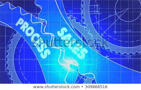 De vendas processo diagrama engrenagens técnico desenho Foto stock © tashatuvango