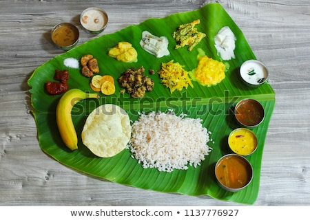 Traditional Indian meal on banana leaf Stock photo © vinodpillai