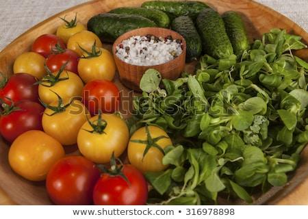 Vers Rood Geel kerstomaatjes komkommers uien Stockfoto © mcherevan