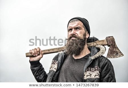 Favágó poszter hosszú szakáll szöveg erdő Stock fotó © Dashikka