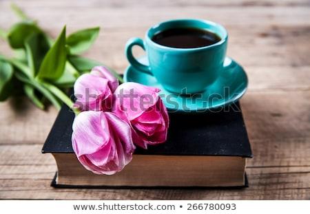 красный · тюльпаны · Кубок · чай · фото · свежие - Сток-фото © karandaev