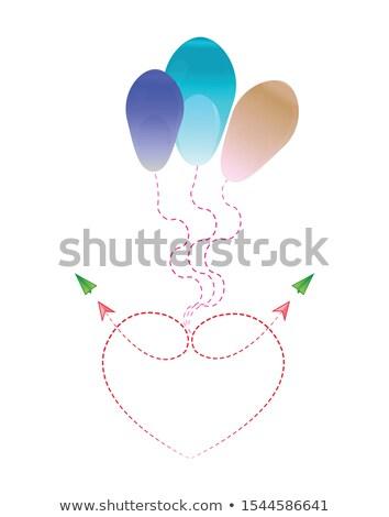 Czerwony pływające balon patrząc jak serca Zdjęcia stock © tetkoren