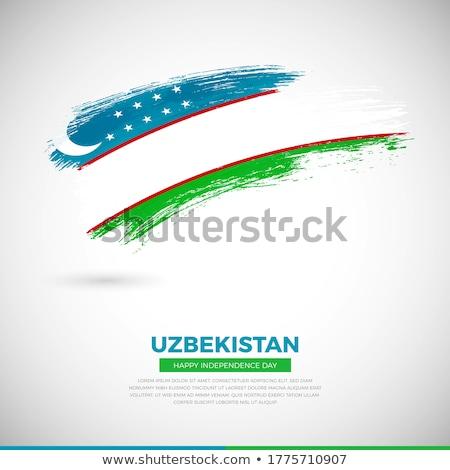 флаг Узбекистан окрашенный щетка твердый аннотация Сток-фото © tang90246