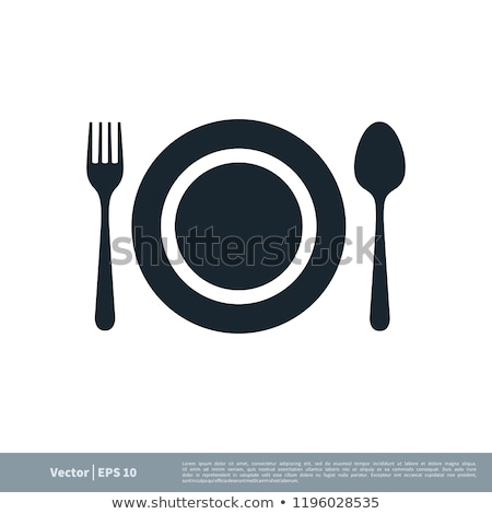 A plate with spoons and forks Stock photo © shawlinmohd