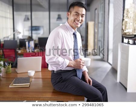 アジア ビジネスマン ブランクカード ボード コピースペース ストックフォト © yongtick