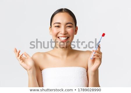 Boldog nő tart fogkefe portré aranyos Stock fotó © deandrobot