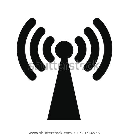 Radio senal azul vector botón icono Foto stock © rizwanali3d