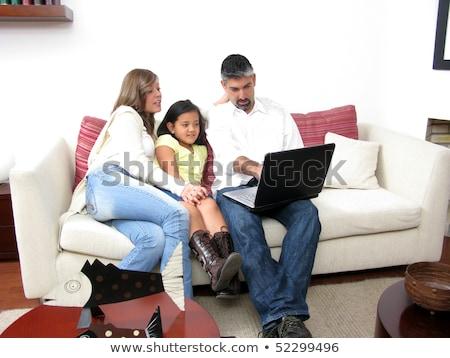 Parents fils Rechercher portable travail visage Photo stock © Paha_L