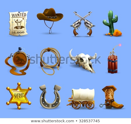 Elements of Wild West Cactus Revolver Hat Stock photo © robuart