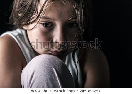 portret · ongelukkig · vrouw · snurken · slaapkamer · man - stockfoto © konradbak