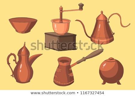 Antigo cobre café pote texto cozinha Foto stock © premiere