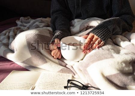 Femenino escritor potable taza café superior Foto stock © stevanovicigor