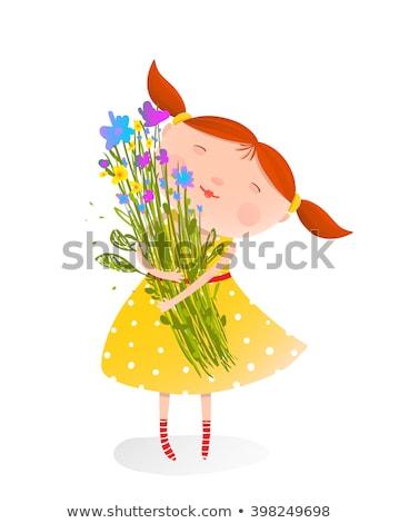 Csinos nő tart színes virágcsokor virágok csinos Stock fotó © majdansky