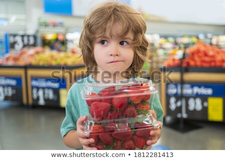 Strawberries marketplace store Stock photo © jordanrusev