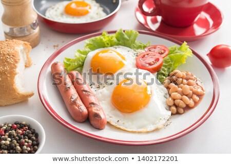 Stock fotó: Piros · bab · saláta · tükörtojás · vegetáriánus · edény