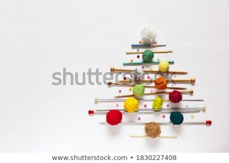 Köt gyapjú labda öreg fa asztal absztrakt Stock fotó © mady70